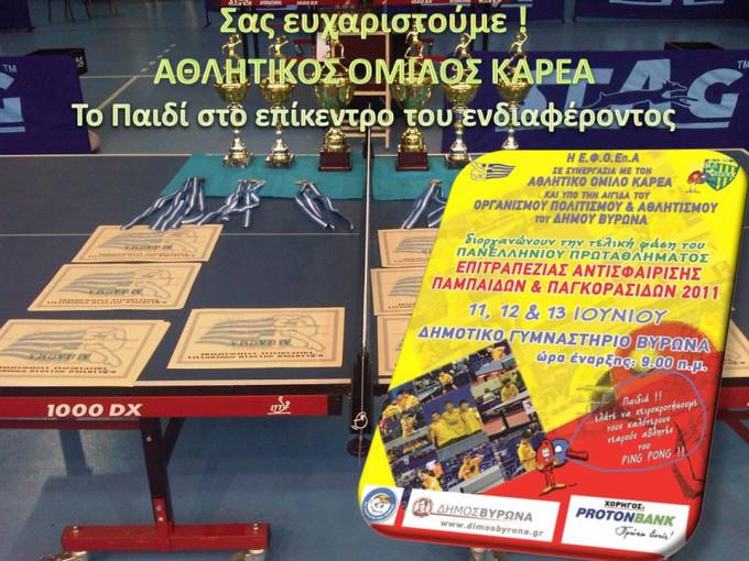 Πανελλήνιο Πρωτάθλημα Παμπαίδων Πανκορασίδων 2011 με το Παιδί στο επίκεντρο του ενδιαφέροντος!