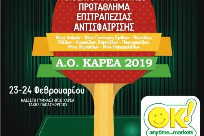 5ο Ανοιχτό Πανελλήνιο Πρωτάθλημα Νέων Ηλικιών Επιτραπέζιας Αντισφαίρισης Α.Ο. ΚΑΡΕΑ 2019